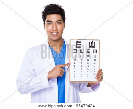 Optician doctor holding with eyechart