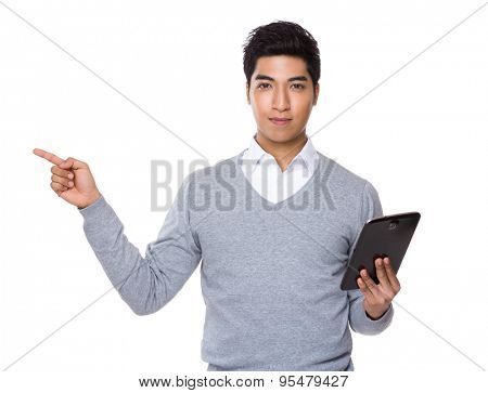 Iranian mixed chinese businessman hold with tablet and finger up