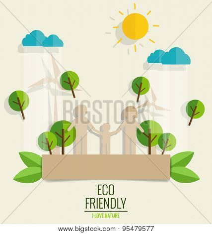 ECO FRIENDLY. Paper cut of family and tree background. Vector illustration.