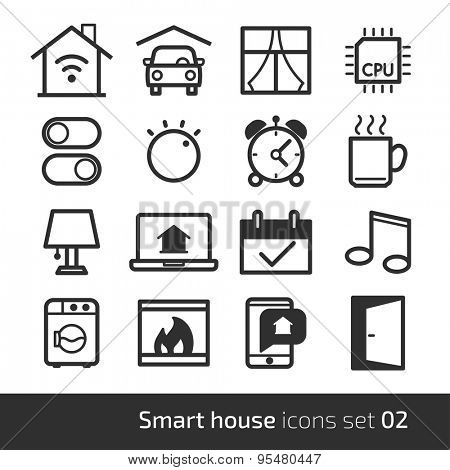 Smart house technology system icons with control of lighting, heating, ventilation and air conditioning, security and video surveillance // 02 BW