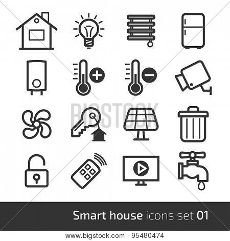 Smart house technology system icons with control of lighting, heating, ventilation and air conditioning, security and video surveillance // 01 BW