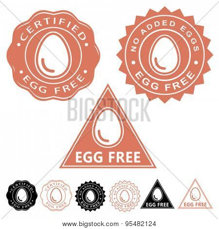 Egg Free Certified Seal Icon Set