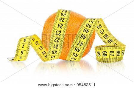 Orange With Measuring On White Background