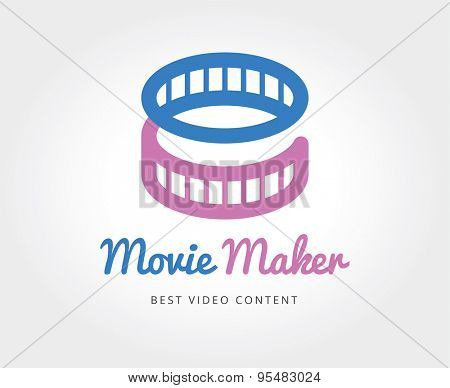 Abstract cinema film logo template for branding and design