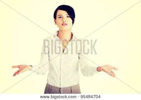 Unsure beautiful brunette caucasian businesswoman