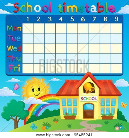 School timetable with school building - eps10 vector illustration.