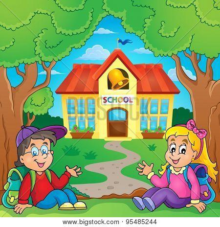 Children near school building - eps10 vector illustration.