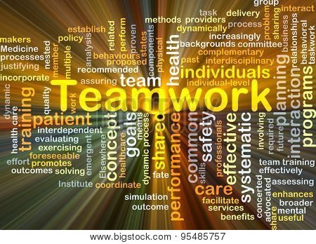 Background concept wordcloud illustration of teamwork glowing light