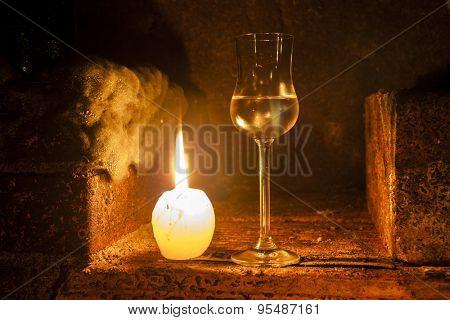 still life in wine cellar