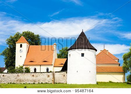 fortification wall and the Church of St. John the Baptist, stronghold of Zumberk, Czech Republic