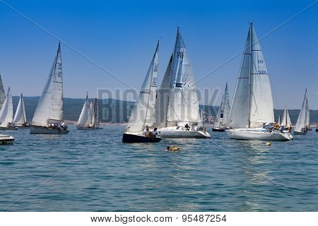 SELCE, CROATIA - JULY 04, 2015: Sailing regatta 'Selce Open 2015'. Points in the Selce Open, a traditional keelboat regatta, count towards the overall rankings in the Croatian Littoral Cup.