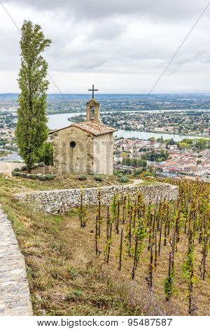 grand cru vineyard and Chapel of St. Christopher, L�´Hermitage, Rhone-Alpes, France