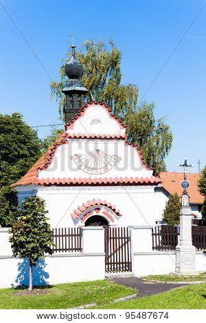 church with sundial clock, Sveradice, Czech Republic