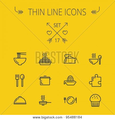 Food thin line icon set for web and mobile. Set includes- cupcakes, spoon and fork, plate, kettle, casserole, hot meal, frying pan icons. Modern minimalistic flat design. Vector dark grey icon on