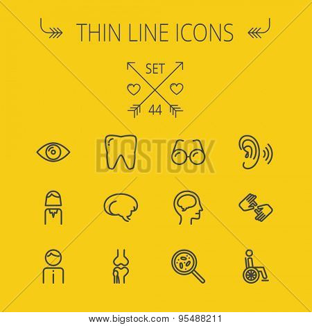 Medicine thin line icon set for web and mobile. Set includes- tooth, eye, ear, hands, bone, brain, human icons. Modern minimalistic flat design. Vector dark grey icon on yellow background.