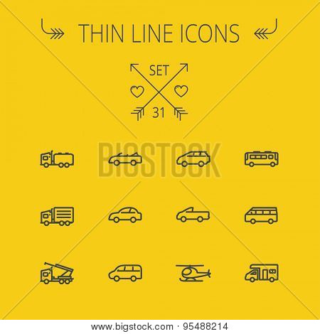 Transportation thin line icon set for web and mobile. Set includes- trucks, van, helicopter, bus, delivery  van, cars icons. Modern minimalistic flat design. Vector dark grey icon on yellow background