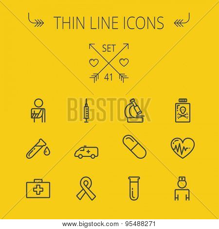 Medicine thin line icon set for web and mobile. Set includes- heart with cardiogram, lady nurse, first aid kit, capsule, syringe, test tube, unity ribbon, ambulance icons. Modern minimalistic flat