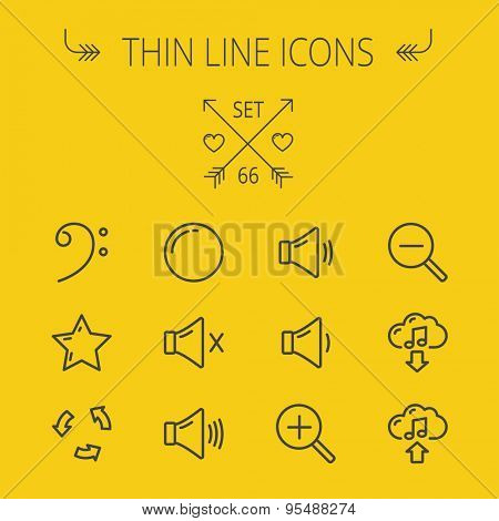 Music and entertainment thin line icon set for web and mobile. Set includes- C-clef, star, replay, stop, volume speaker icons. Modern minimalistic flat design. Vector dark grey icon on yellow