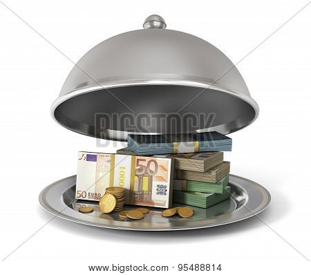 Silver Restaurant Cloche With Banknotes And Coins On A White Background. Money Is Submitted!