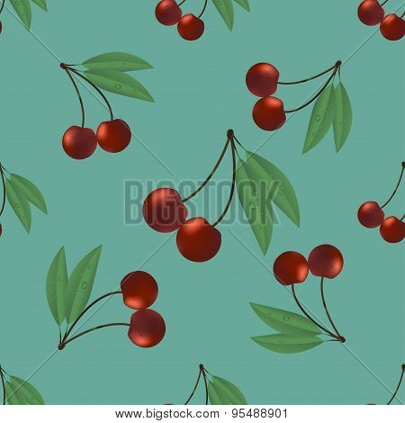 Seamless pattern two ripe cherry with leaves