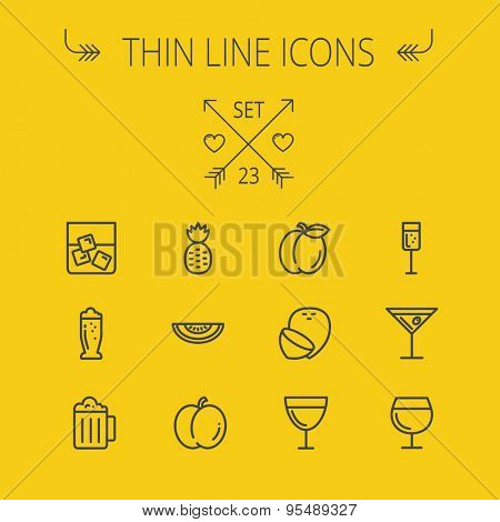 Food and drink thin line icon set for web and mobile. Set includes- pineapple, orange, wine, glass of water with ice, tequilla, beer, melon icons. Modern minimalistic flat design. Vector dark grey