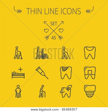 Medicine thin line icon set for web and mobile. Set includes- tooth, crutches, walker, injured person, sick person, syringe, bed, toothache, icons. Modern minimalistic flat design. Vector dark grey