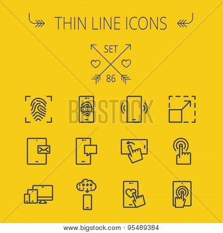 Technology thin line icon set for web and mobile. Set includes- thumb mark, smartphones, with heart, message, call, browsing, downloading, touchscreen icons. Modern minimalistic flat design. Vector