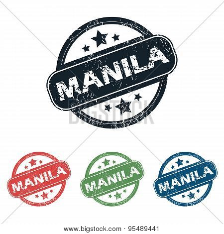 Round Manila city stamp set