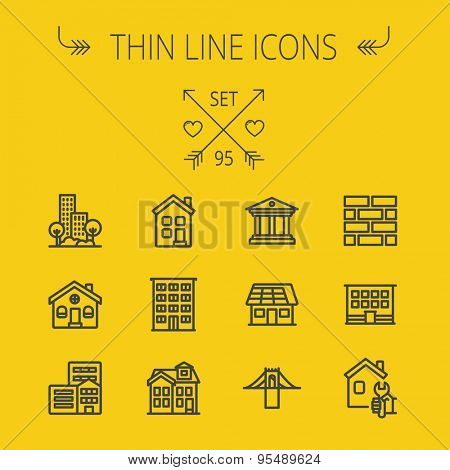 Construction thin line icon set for web and mobile. Set includes - museum, house with solar panel, bridge, building, bricks, hotel. Modern minimalistic flat design. Vector dark grey icon on yellow