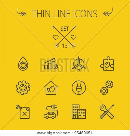 Ecology thin line icon set for web and mobile. Set includes- gear wheel, gas pump, leafs, tools, plug, building, electric car icons. Modern minimalistic flat design. Vector dark grey icon on yellow