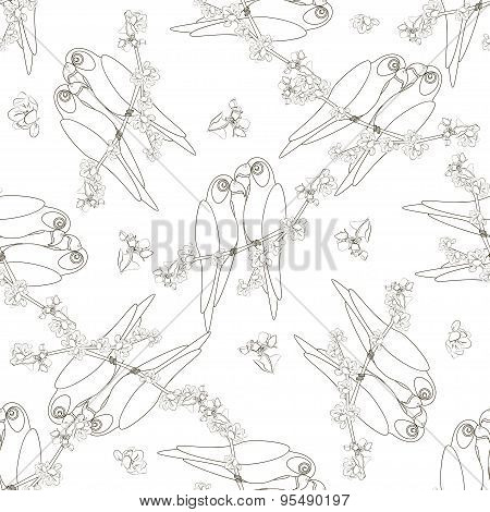 Seamless pattern with two contoured parrot