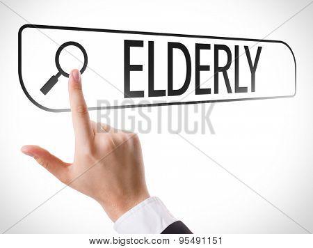 Elderly written in search bar on virtual screen