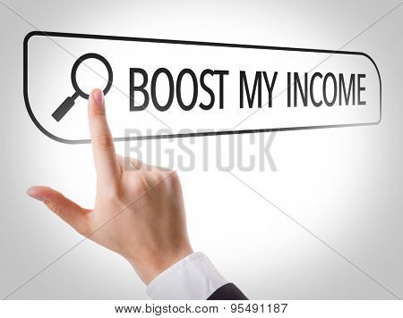 Boost My Income written in search bar on virtual screen
