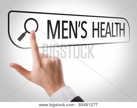 Mens Health written in search bar on virtual screen