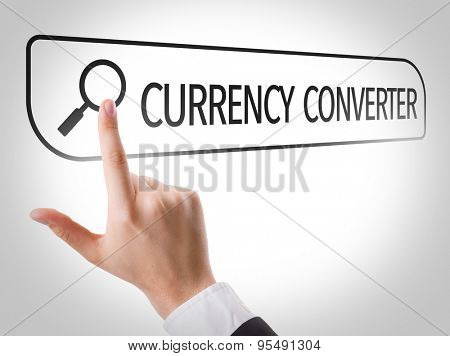 Currency Converter written in search bar on virtual screen