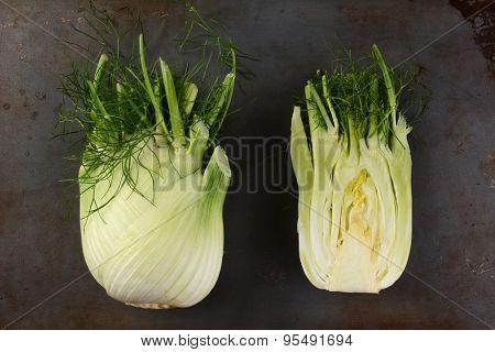 High angle view of two fennel bulbs on a metal surface. One bulb is cut in half.