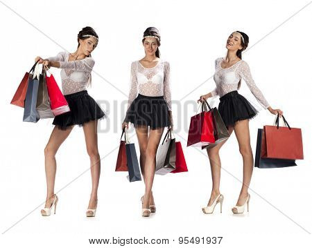 Collage three shopping women, Full length portrait of a beautiful young brunette girls posing with shopping bags, isolated on white background