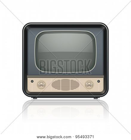Vintage retro tv set icon. Eps10 vector illustration. Isolated on white background