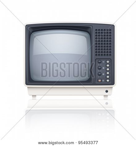 Old style retro tv set icon. Eps10 vector illustration. Isolated on white background
