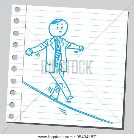 Businessman walk on wire