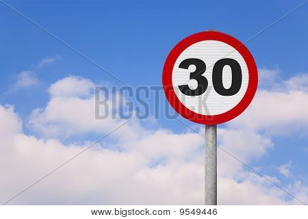 Round Roadsign With The Number 30