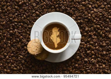 Still Life - Coffee With Map Of Tunisia
