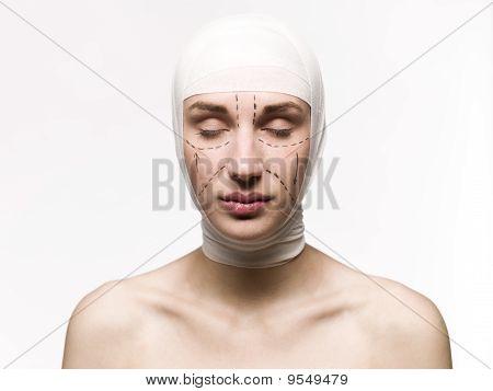 woman prepared fo plastic surgery