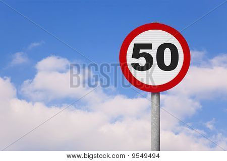Round Roadsign With Number 50 On It