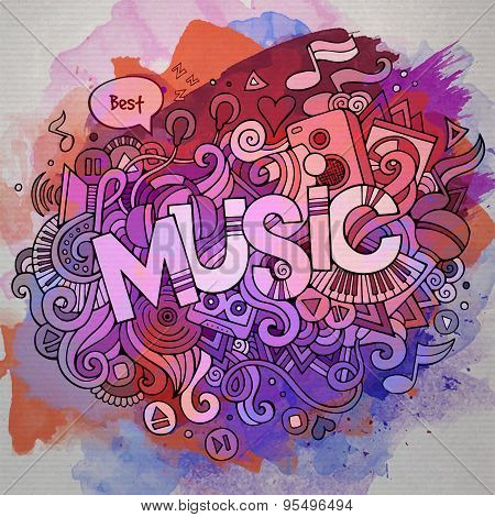 Music hand lettering and doodles elements
