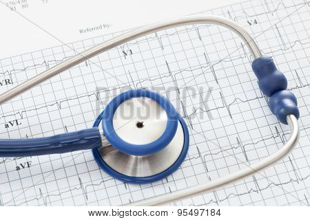 Stethoscope With Ekg Cardiograms Chart