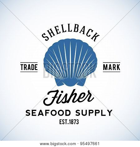 Shellback Fisher Seafood Supply Abstract Vector Retro Logo Template or Vintage Label with Typography