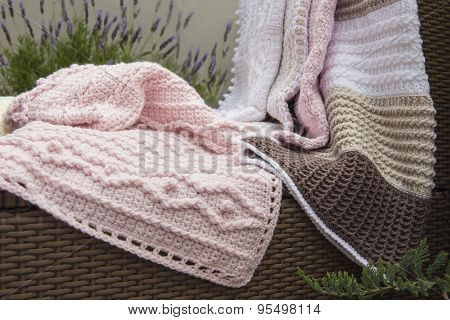 Crochet, Baby Blankets on Sofa