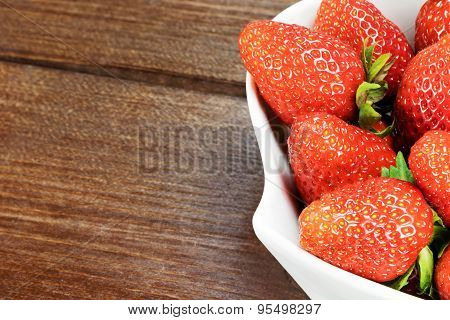 White Bowl With Strawberries Closeup