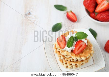 Waffles And Ripe Strawberries.